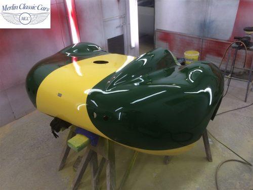 Lister Jaguar Race Car Paintwork Rear End Accident Bare Metal Respray 8